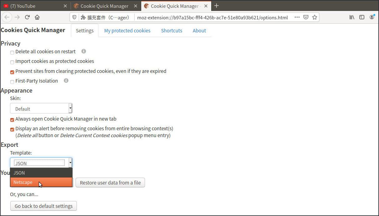 change export option to Netscape
